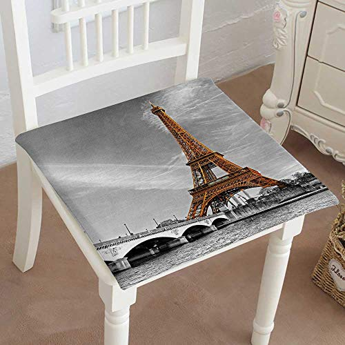 Mikihome Chair Pads Squared Seat View of The Eiffel Tower at Sunrise, Paris Outdoor Dining Garden Patio Home Kitchen Office 28