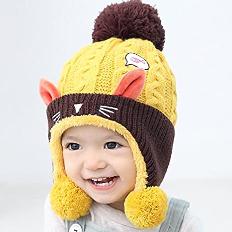 Buy Generic light blue   Cute Baby Winter Hat Warm Infant Beanie Cap For  Children Boys Girls Animal Cat Ear Kids Crochet Knitted Hat Online at Low  Prices in ... 0be1a67e386