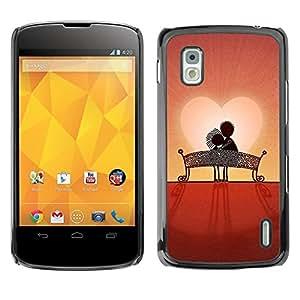 Be Good Phone Accessory // Dura Cáscara cubierta Protectora Caso Carcasa Funda de Protección para LG Google Nexus 4 E960 // Love Couple Sweet Sunset Romantic