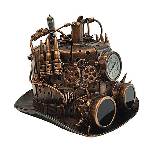 Attitude Studio Steampunk Fedora Hat with Mechanical Gears & Glasses - ()