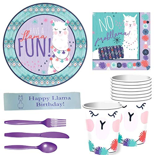 Llama Birthday Party Supplies Including Plates, Napkins, Cups, Tableware and Custom Printed Ribbon