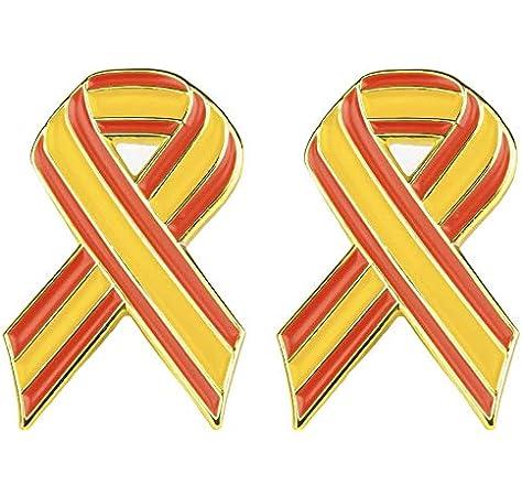 Juego de 2 x Bandera de España Cinta de Metal Estilo Pin Insignias 21 mm x 15 mm: Amazon.es: Juguetes y juegos