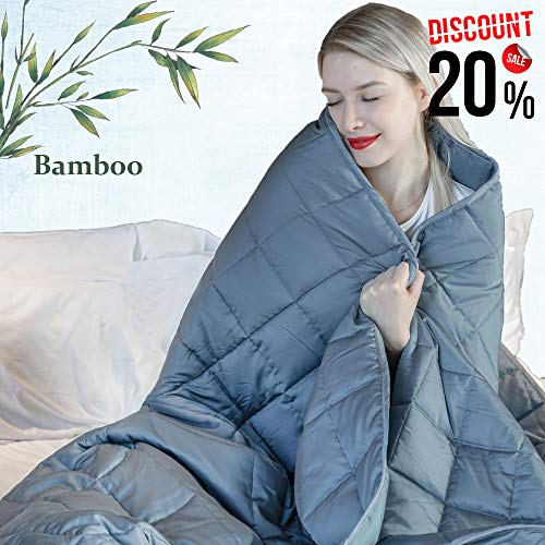 Cheap Daverose Cooling Weighted Blanket 4.0 | 100% Natural Bamboo Heavy Blanket | 60 x80 Queen | 25lbs for 230-260lbs Individual | Breathable Bamboo with Premium Micro Glass Beads Black Friday & Cyber Monday 2019