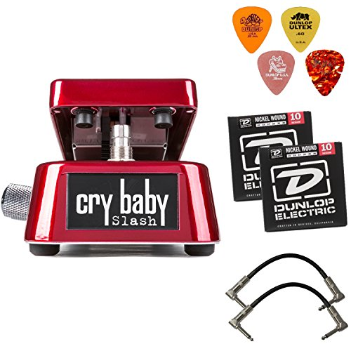 (DUNLOP SW95 Cry Baby Slash Signature Wah Wah Guitar Effects Pedal Bundle With DUNLOP Sample Pick Pack, Dunlop DEN1046 Electric Nickel Medium Guitar Strings 10-46 and 2 Patch Cables (6