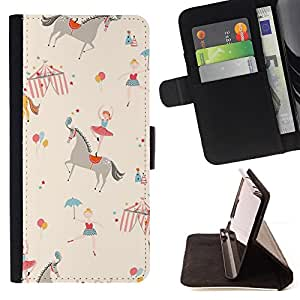 For Samsung GALAXY Note 5/N9200 Circus Horse Ballerina Kids Retro Beige Style PU Leather Case Wallet Flip Stand Flap Closure Cover