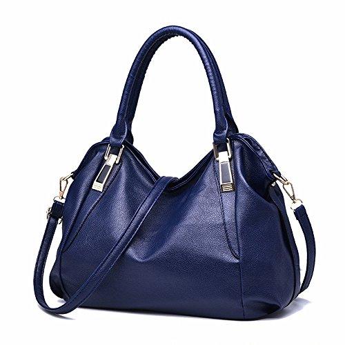 de de Cuero Mujer de marrón Suave de Crossbody azul Bolso Hombro Bolso Bag CCZUIML Mano qnES8Y