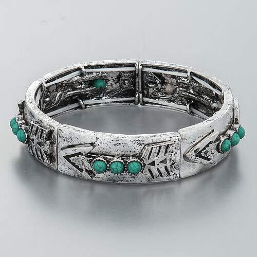 Antique Silver Arrow Design Turquoise Beads Stretchable Hammered Bangle Bracelet -