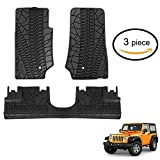 Kaluo 3-Piece All Season Slush Style Rubber Floor Mat for 2007-2013 Jeep Wrangler Four Door (US STOCK)