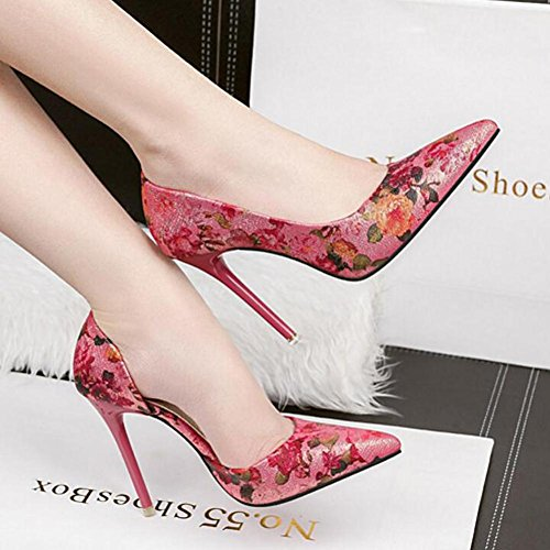 Side Pointed Red Nightclub With 10cm Fine Women'S Sandals Heels High Empty Flowers OfE6x