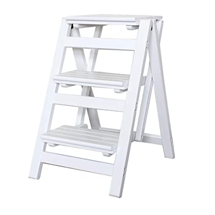 Scaletta pieghevole a tre gradini Sgabello da cucina in legno massiccio addensato Sgabello Scaletta interna Sgabello da arrampicata a doppio uso Scaletta in legno creativo colore : Style2