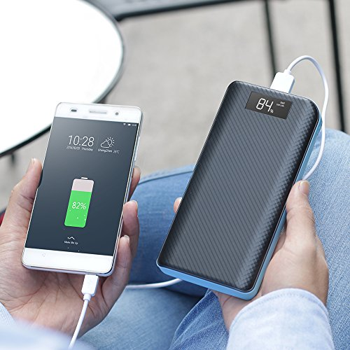 energy Bank X DRAGON 20000mAh moveable Charger 3 Port USB result External Battery Charger Pack utilizing LCD monitor for Cell mobile iphone Samsung Tablet ipad and extra Blue External Battery Packs