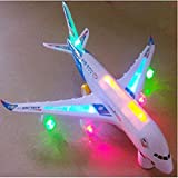 Electric Small Airplane Toy Beautiful Flashing Lights Loud Plane Sound Goes Around Changes Directions on Contact Great Gift Toys for Kids