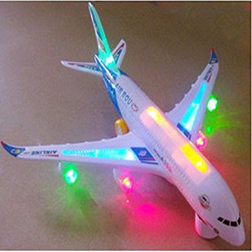 Electric Small Airplane Toy Beautiful Flashing Lights Loud Plane Sound Goes Around Changes Directions on Contact Great Gift