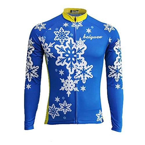 (Uriah Women's Cycling Jersey Long Sleeve Thermal Fleece Blue Snowflake Size M(CN))