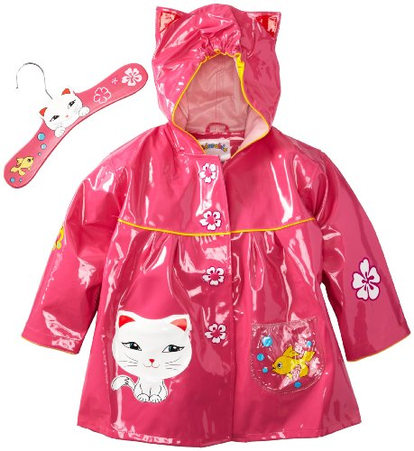 Kidorable Lucky Cat Raincoat, Pink, 6-6X