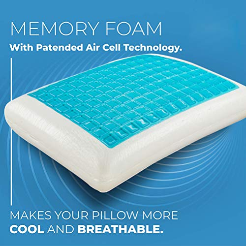 DIMOTE Comfort Therapy Memory Bed Pillow with Heat Dissipating Cool Gel, Reversible Sides, Removable Washable Cover - Doctor-Designed for Neck, Back Pain Prevention