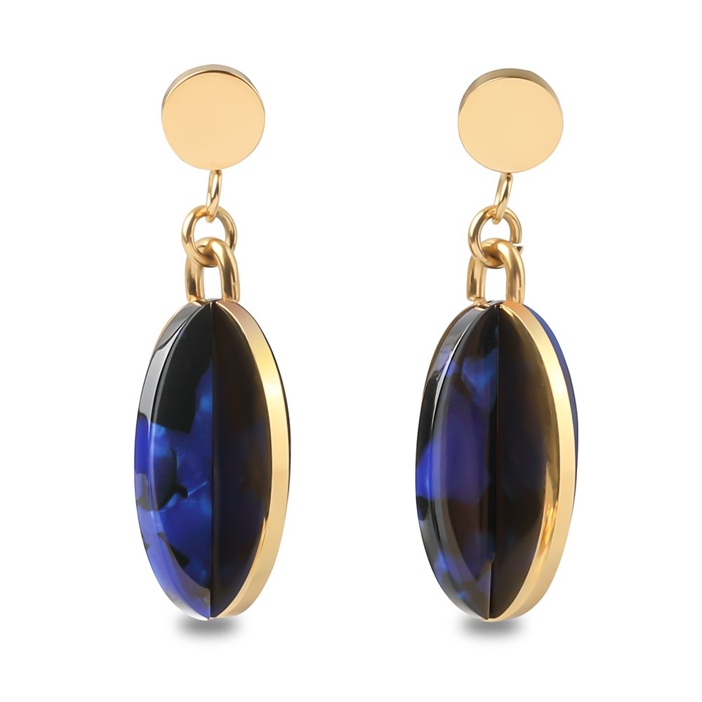 Metal and resin earrings and 18K Gold Plated Multicolour stone-effect Resin oval earrings by F/&G