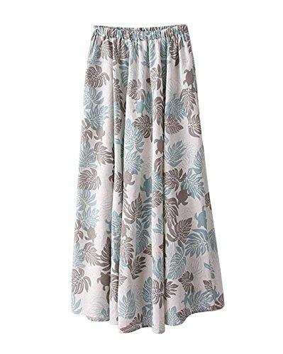 Femme Lin Imprim Floral t Boho Littrature Et Art Style Taille lastique Swing Longue Jupe t Plage Voyager A Line Grande Taille Jupe Longue Maxi Color 8