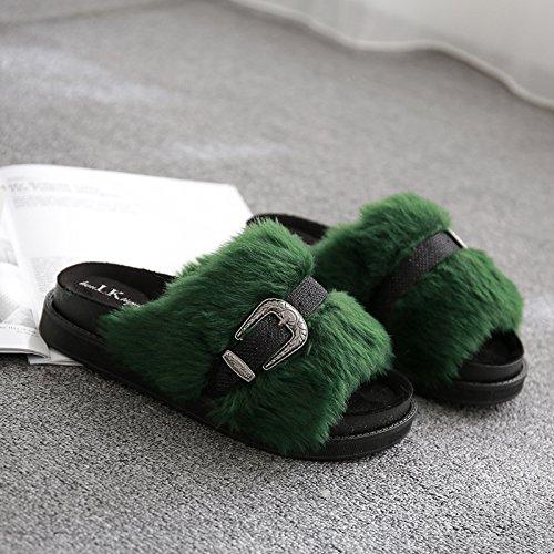 Fankou Autunno e Inverno pantofole home giovane anti-slittamento e camera da letto home cose carine da indossare uomini cotone pantofole estate femmina ,42, tacco alto grigio clip per cintura