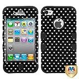 MYBAT IPHONE4AVHPCTUFFIM031NP Premium TUFF Case for iPhone 4 - 1 Pack - Retail Packaging - Black Vintage Heart Dots/Black