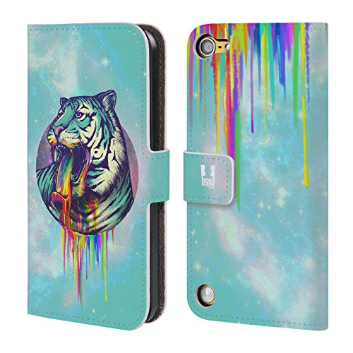 Head Case Designs Tigre Vomito Arcobaleno Cover a portafoglio in pelle per iPod Touch 5th Gen / 6th Gen