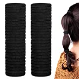 50 Pack Dreamlover Seamless Thick Cotton Hair Rubber Bands, Elastic Durable Ponytail Holders Hair Ties, Ponytail Buns Headbands, No Crease and Damage Hair Accessories for Kids, Girls and Women, Black