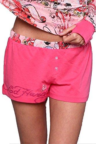 Ed Hardy PJ Solid Boxer Short (Pink, Medium) (Hardy Ed Panty Womens)