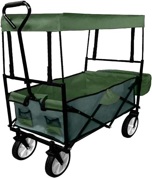 HENGMEI Carretillas de Carro Plegable Carrito transportador con Toldo de Protección Carga para Playa, jardín, máxima 75kg, Verde: Amazon.es: Jardín