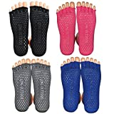 "4 Pairs Yoga Toeless Socks For Yoga and Pilates- 8"" length"