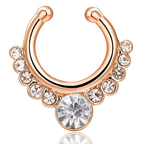 Gem Nose Hoop - 1 PCS Plated Nose Ring for Women, Stainless Steel Nose Hoop Gemstone Decor, 16 × 17 mm (Gold + White)