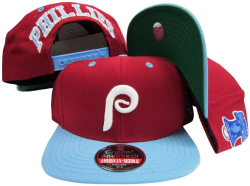 (American Needle Philadelphia Phillies Maroon/Light Blue Two Tone Plastic Snapback Adjustable Snap Back Hat/Cap )