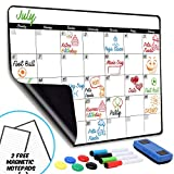 Monthly Magnetic Dry Erase Calendar - Large Magnetic White Board for Refrigerator & Wall with 1 Eraser, 4 Markers & 5 Buttons - Meal Menu Grocery Chore to-Do Activity Smart Monthly Planner