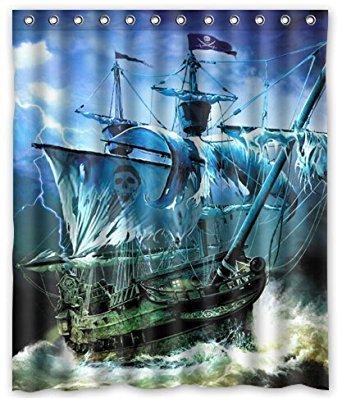 """Fashion Cute Nautical Vintage Sailing Pirate Ship Shower Curtain (60"""" x 72"""" )"""