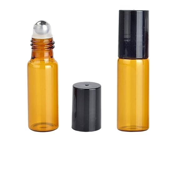 20 Conjuntos Mini rodillo de cristal ámbar Botella vacía Perfume Aceite Esencial botellas de metal Roller contenedores Cosméticos cristal rollo de cristal ...