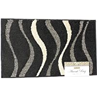 Accent Rug Wavy Design Black With Beige Waves 17 x 28 Machine Washable Latex Backing