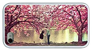 Hipster carry iPhone 4S cover spring blossom love kiss TPU White for Apple iPhone 4/4S