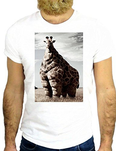 T SHIRT Z1163 GIRAFFE FAT BIG CARTOON COOL AMAZING NICE CARTOON ANIMAL GGG24 BIANCA - WHITE S