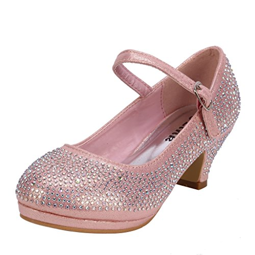 Coshare Kid's Fashion Little Girl Pretty Party Dress Pumps, Pink - Satin PU 1.5