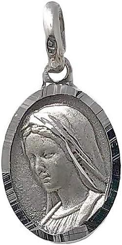 Medalla plata Ley 925m escapulario macizo Virgen de Medjugorje Reina de la Paz Jes/ús Misericordioso