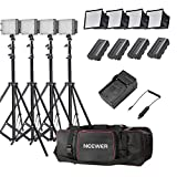 Neewer® 4x 160 LED light kit Dimmable Ultra High Power Panel Lighting Kit,Includes:(4)CN-160 Light+(4)5.9''x6.7''/15x17cm Softbox+(4)Battery Replacement+(4)6ft/190cm Light Stand+(1)Bag