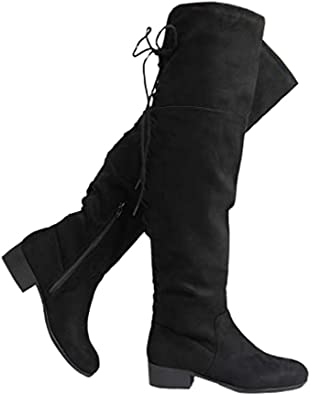Suede Lace Up Closed Toe Low Heel Knee