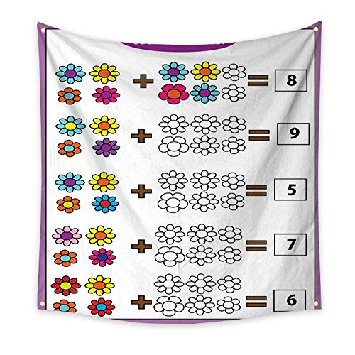 BlountDecor Simple Tapestry Math Educational Game for Children Counting Equations Addition worksheet 47W x 47L Inch