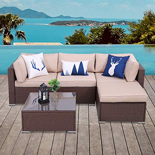 5 Piece Patio Furniture Set, Paito All Weather Brown PE Wicker Sectional Sofa, Outdoor Conversation Furniture Set with Glass Table, Removable Beige Cushions