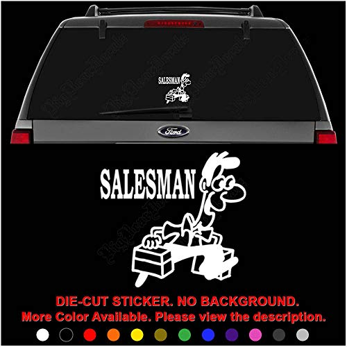 Salesman Die Cut Vinyl Decal Sticker for Car Truck Motorcycle Vehicle Window Bumper Wall Decor Laptop Helmet Size- [6 inch] / [15 cm] Wide || Color- Gloss White