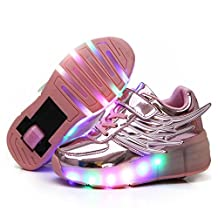 CPS Kids Adults LED Light Up Sneakers Wing Single Wheels Roller Skate Shoes