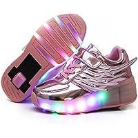 Nsasy Roller Shoes Girls Roller Skate Shoes Boys Kids LED Light up Wheel Shoes Roller Sneakers Shoes Wheels for Kids for Kids