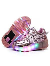 Nsasy Unisex-Boy's Girl's LED Shoes Dance Boot Light Up Sneaker