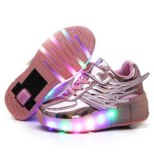 Nsasy YCOMI Girl's Boy's LED Light Up Single Wheel Skate Shoes Fashion Roller -