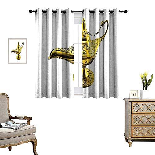 homehot Arabian Room Darkening Wide Curtains Aladdin`s Magic Genie Lamp Wish Mystery Magic Wonder Adventure Story Inspired Art Customized Curtains Gold White