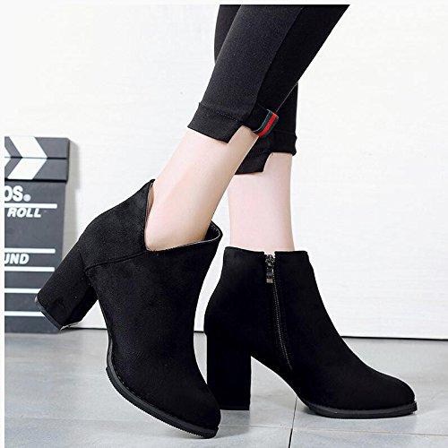 KHSKX-High-Heeled Zapatos Con Punta Audaces Martin Botas Negro Camisa Corta Primavera Y Otoño E Invierno Botas Botas Botas De Matt Desnudo Solo 35 38